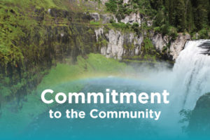 Commitment to the community photo with a photo of mesa falls - rexburg wellness center