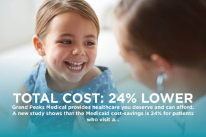 Total Cost 24% Lower with a photo of a happy child at a checkup - rexburg wellness center