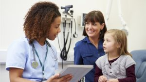 a doctor talking to a child and her mother about care coordination, Medication Assistance, and other Additional Offerings